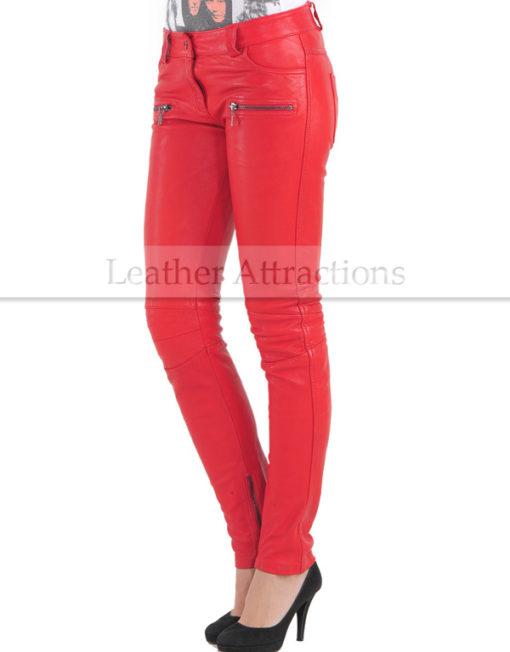Vogue-Women-Leather-Pantalon-Red-Front
