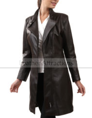 Women-3-4-Zipper-Lether-Coat-Front-open-front