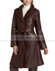 Women-3-Quarter-Leather-Trench-Side-Front