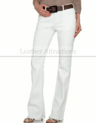 Women-5-Pocket-boot-Cut-White-Leather-Pants-Front