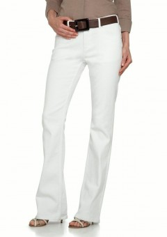 Women 5 Pocket boot Cut White Leather Pants Front