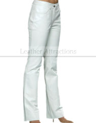 Women-5-Pocket-boot-Cut-White-Leather-Pants-Side