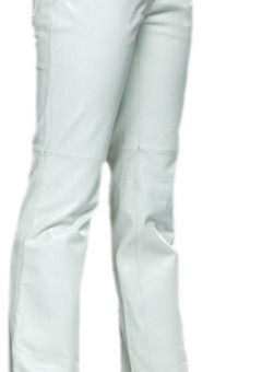 Women 5 Pocket boot Cut White Leather Pants Side