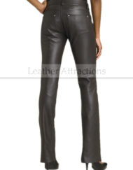 Women-Boot-cut-Black-Leather-Pants-Back