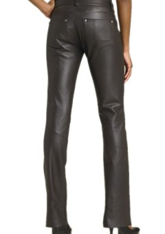 Women Boot-cut Black Leather Pants Back