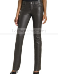 Women-Boot-cut-Black-Leather-Pants-Front