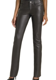 Women Boot-cut Black Leather Pants Front