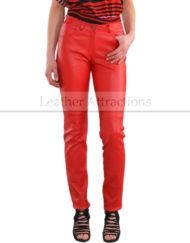 Women-Chilli-Red-Cigarette-Straight-leather-Pants-Front