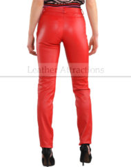 Women-Chilli-Red-Cigarette-Straight-leather-Pants-back