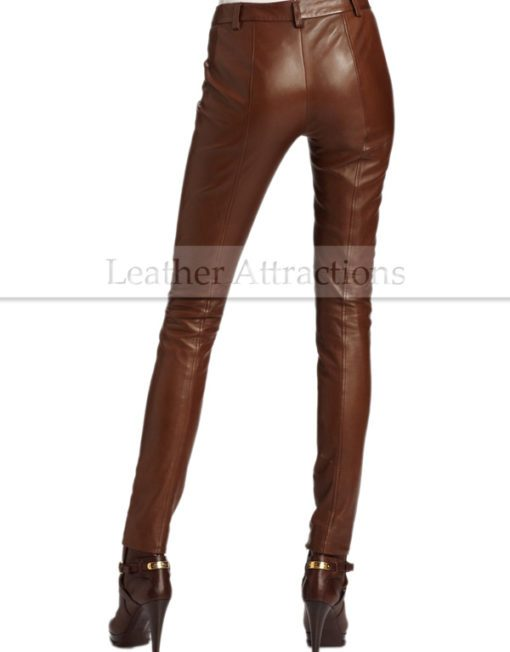 Women-Luxurious-lamb-Leather-Pants-Back