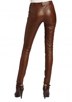 Women Luxurious lamb Leather Pants Back