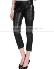 Women-Motorcycle-Caprice-Black-Leather-Pants-Front