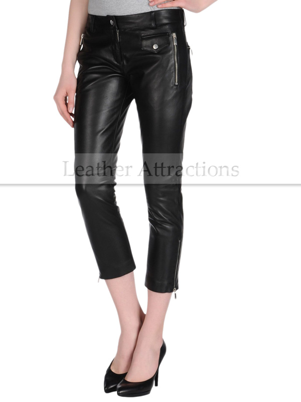 Women Motor cycle Caprice Black Leather Pants