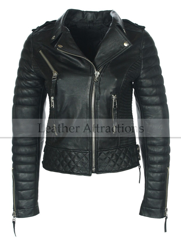 Women Quilted Fitting Biker Leather Jacket