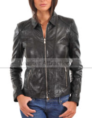 Women-Shirt-Collar-Attraction-Leather-JAcket-Front