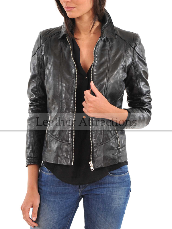 Women Shirt Collar Attraction Leather Jacket