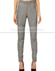 Women-Stright-fit-Gray-Leather-Pants-Front