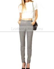 Women-Stright-fit-Gray-Leather-Pants-small-front