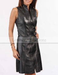 Women-Zipper-Leather-Dress-Front