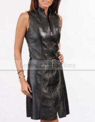 Women-Zipper-Leather-Dress-Front