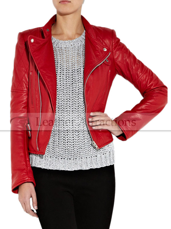 Women Motorcycle Chilly Red Leather Jacket