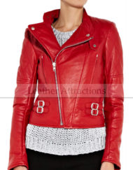 Women-motocycle-Chilli-Red-Leather-Jacket-front-closeup