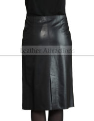 Womens-Classic-Jupe-Cure-Medium-Leather-skirt-Back