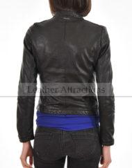 Womens-Round-Neck-plus-zipper-Leather-Jacket-Black