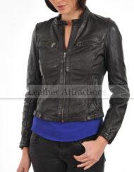 Womens-Round-Neck-plus-zipper-Leather-Jacket-Black-Front