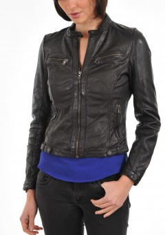 Womens Round Neck plus zipper Leather Jacket Black Front