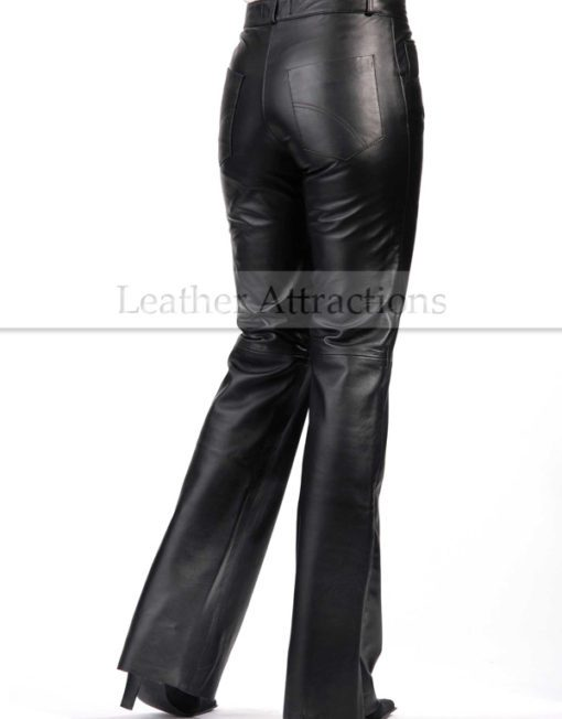 bell-bottom-ladies-leather-pants-Back