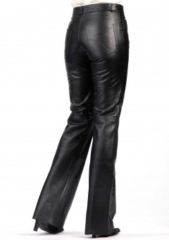 bell bottom ladies leather pants Back