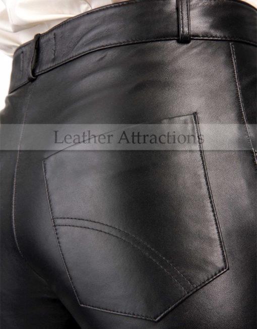 bell-bottom-ladies-leather-pants-Back-Pocket