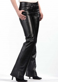 bell bottom ladies leather pants Front