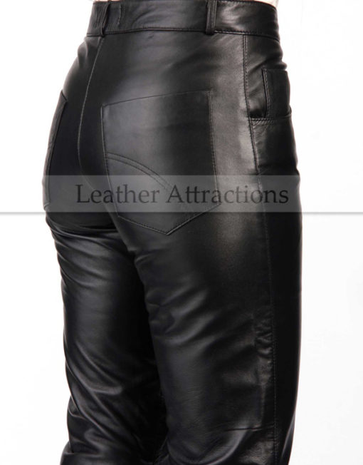 bell-bottom-ladies-leather-pants-Right-Back