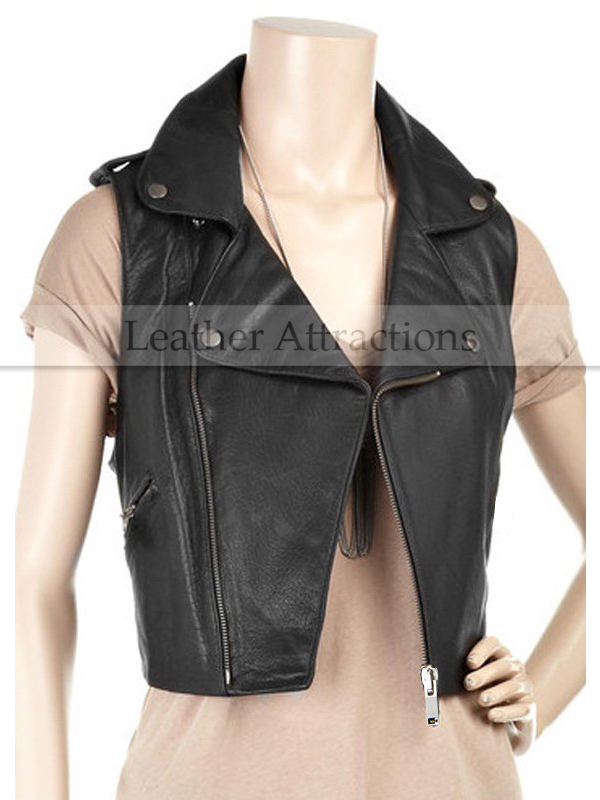Biker Style Ladies Leather Vest