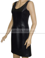sheath-dress-leather-dress-Black-Left-Front