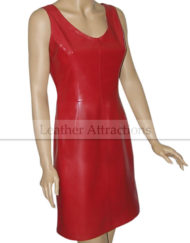 sheath-dress-leather-dress-Front-RED-Right