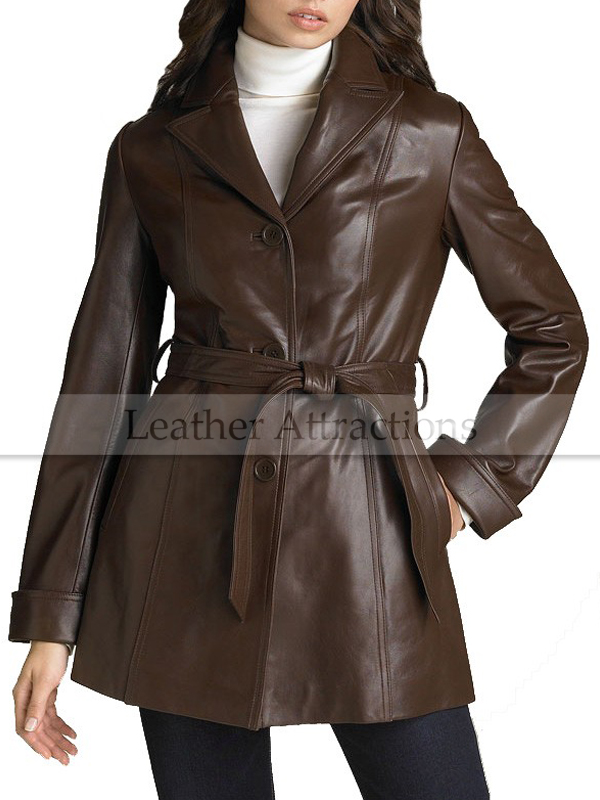 Women's Brown Lambskin Leather Hipster Coat
