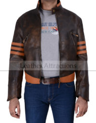 XMen Wolverine Leather Jacket Front