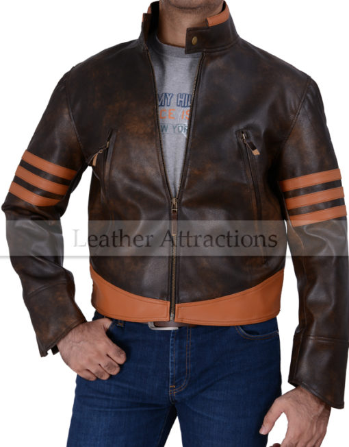 X-Men Wolverine Leather Jacket Front